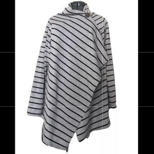 euc • bobeau • grey striped wrap cardigan